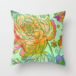 Pearly Peony Throw Pillow
