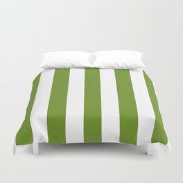 Olive Drab (#3) - solid color - white vertical lines pattern Duvet Cover