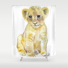 Lion Cub Watercolor Shower Curtain