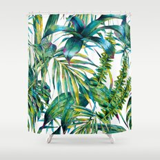 nature leaves exotic watercolor I Shower Curtain