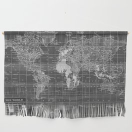 Black and White Vintage World Map Wall Hanging