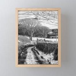 snow on badger lane Framed Mini Art Print