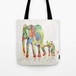Colorful Elephant Family Tote Bag