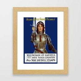 Joan of Arc Saved France - World War I Poster Framed Art Print