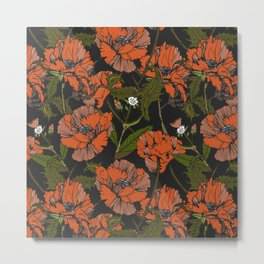 Autumnal flowering of poppies Metal Print