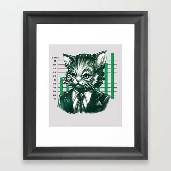Blue Tooth Cat Deals in Trillions Framed Art Print