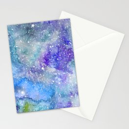 Spacehead - Watercolor Galaxy Painting Laced with Stars Stationery Cards