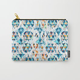 happy blue balinese ikat mini Carry-All Pouch