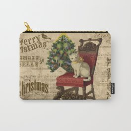 Vintage Christmas Cat Carry-All Pouch