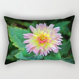 Dahlia With Green Leaves Rectangular Pillow