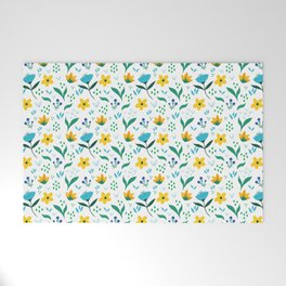 Summer flowers in yellow and blue in white background Welcome Mat