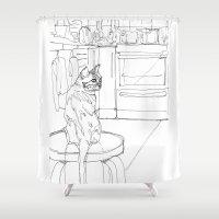 kitchen Shower Curtains featuring Kitchen Cat by Jonas Ericson