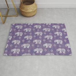 Elephants on Linen - Amethyst Rug