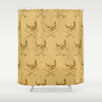 pirates Shower Curtains featuring Pirates skulls by Tony Vazquez