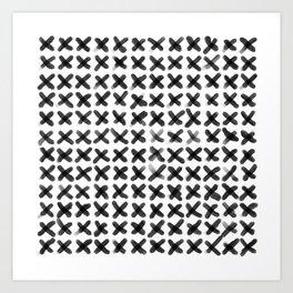 Minimalist Brush Strokes X black Art Print