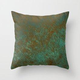 Green Patina Copper rustic decor Throw Pillow