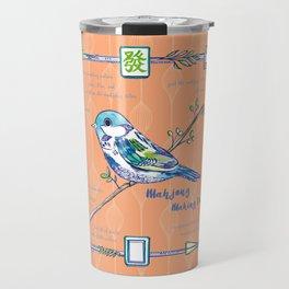 Sparrow Mahjong in Orange Travel Mug