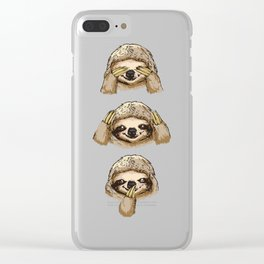 No Evil Sloth Clear iPhone Case