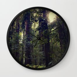 Sunrays in the Redwoods Wall Clock