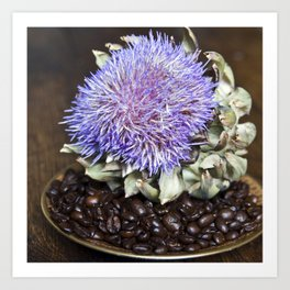 Coffe Beans and Blue Flower of Artichoke Art Print