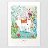 llama Art Prints featuring Llama by The Wildest Little Things