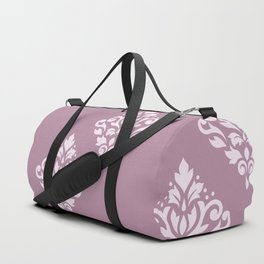 Scroll Damask Art I Pink on Mauve Duffle Bag