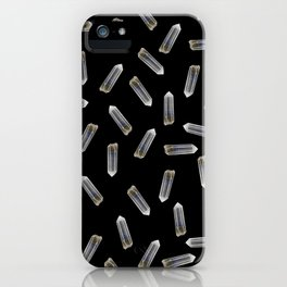 quartz crystals on black iPhone Case