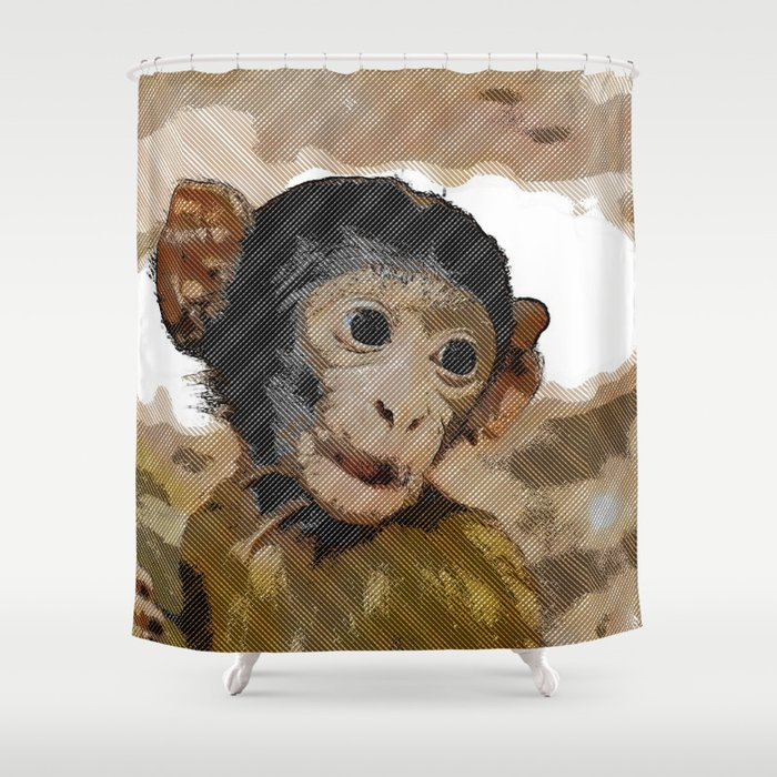 Halftone Pixel Fun Baby Monkey Shower Curtain By Jamcolorsspecial