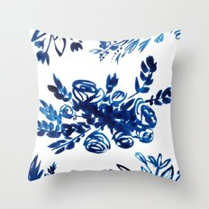 Indigo Garden Throw Pillow
