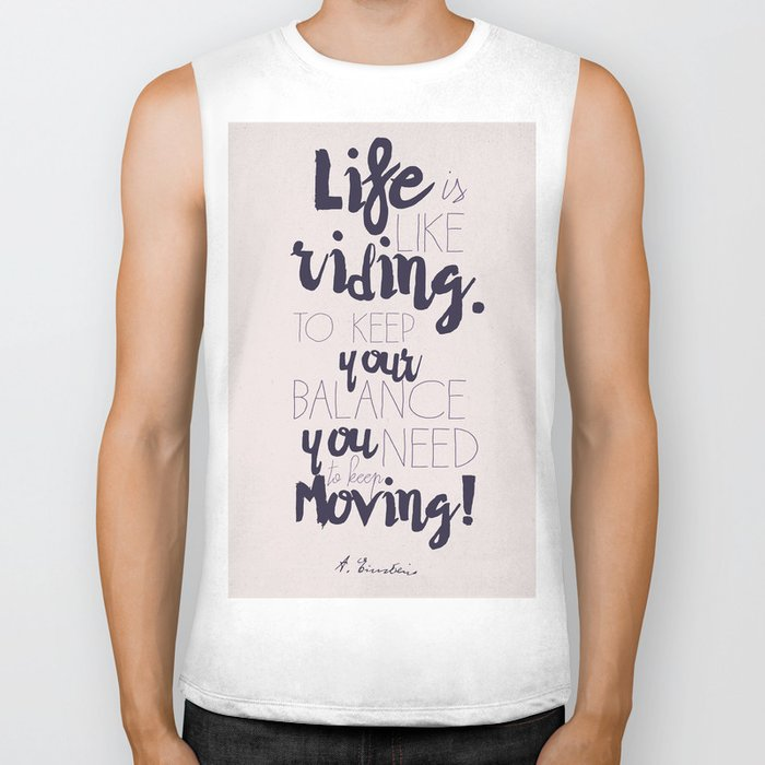 A. Einstein quote on life for motivation inspiration and strenght, typography, illustration, decor Biker Tank