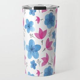 Watercolor Flowers Travel Mug