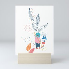 Flower Lady Sweeping Up the Leaves Mini Art Print