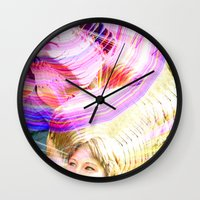 jenna kutcher Wall Clocks featuring James and Jenna by Karl Doerrer-Attaway