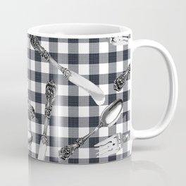 Utensils on Black Picnic Blanket Coffee Mug