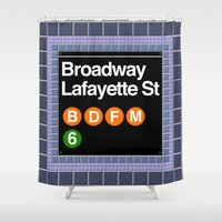 broadway Shower Curtains featuring subway broadway sign by Art Lahr