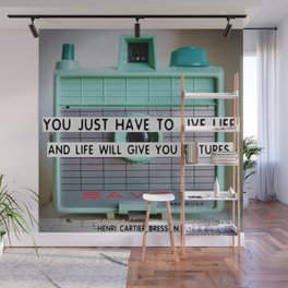 Cute Vintage Camera with Photography Quote Wall Mural