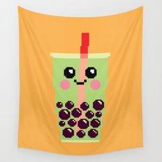 Happy Pixel Bubble Tea Wall Tapestry