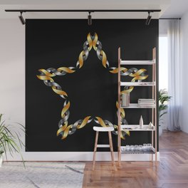 A decorative Celtic fractal flower in metallic colors Wall Mural