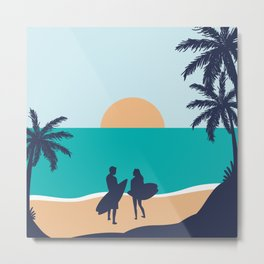 Couple's Escapade At The Paradise Island  Metal Print