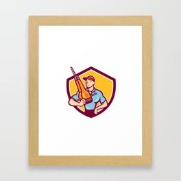 Construction Worker Jackhammer Shield Cartoon Framed Art Print