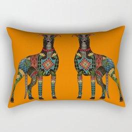 greyhound orange Rectangular Pillow