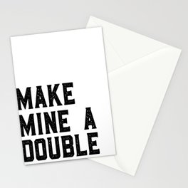 MAKE MINE A DOUBLE, Funny Bar Decor,Cute Kitchen Decor,Drink Sign,Alcohol Sign,Bar Cart,Celebrate Li Stationery Cards