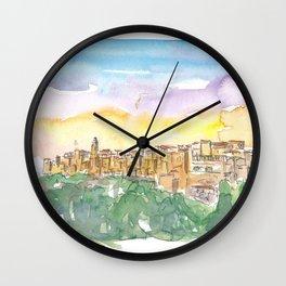 Pitigliano Grosseto Old Italian Skyline In The Evening Wall Clock