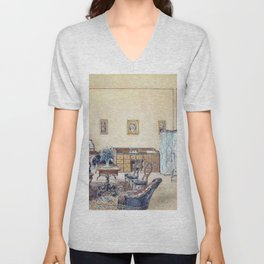 Franz Alt - Interior with bird cage and beach chair - Digital Remastered Edition Unisex V-Neck