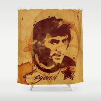 coffe Shower Curtains featuring George Best - coffe stained by Colo Design