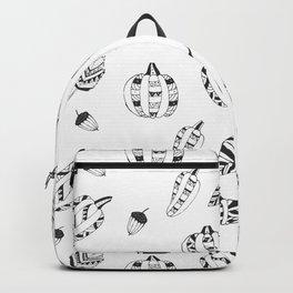 Hand drawn black white tribal geometrical pumpkin floral Backpack