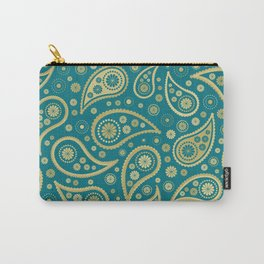 Paisley Funky Design Gold & Teal Carry-All Pouch