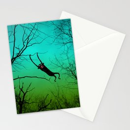monkey in a tree - color green/blue Stationery Cards