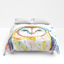 Barn Owl - Watercolor Painting Comforters