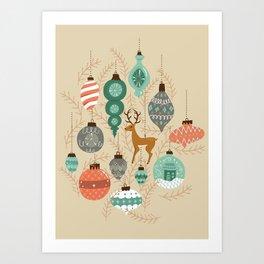 Holiday Ornaments in Aqua + Coral Art Print